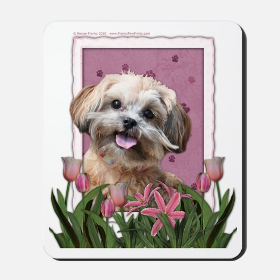 Pink_Tulips_ShihPoo_Maggie Mousepad