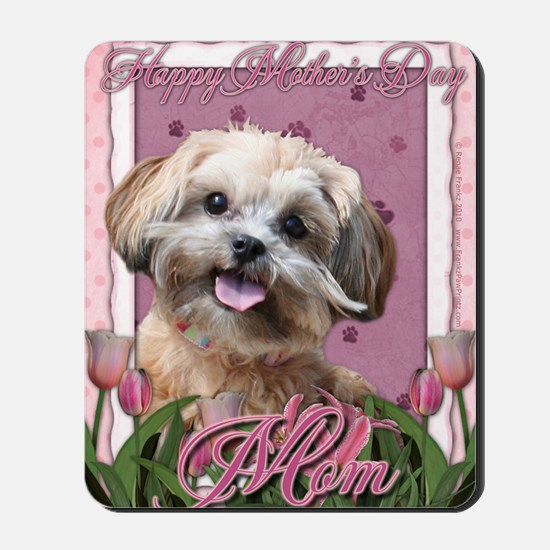 Mothers_Day_Pink_Tulips_ShihPoo_Maggie_M Mousepad