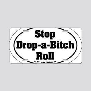 derby_stop_drop_roll_5x3_b Aluminum License Plate