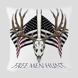 Free men hunt Woven Throw Pillow