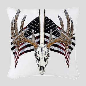 Whitetail, USA flag Woven Throw Pillow