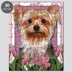 Mothers_Day_Pink_Tulips_Yorkshire_Terrier Puzzle