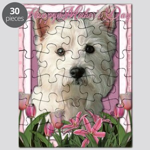 Mothers_Day_Pink_Tulips_Westie Puzzle