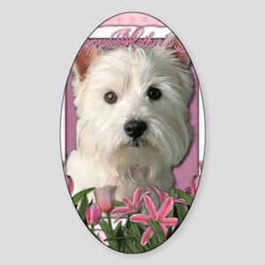 Mothers_Day_Pink_Tulips_Westie Sticker (Oval)
