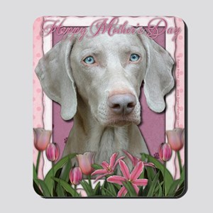 Mothers_Day_Pink_Tulips_Weimeraner_Blue Mousepad