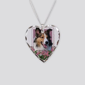 Pink_Tulips_Sheltie Necklace Heart Charm