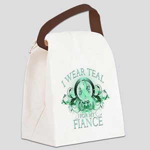 I Wear Teal for my Fiance (floral Canvas Lunch Bag