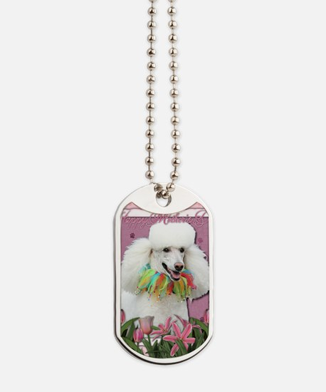 Mothers_Day_Pink_Tulips_Poodle_White Dog Tags
