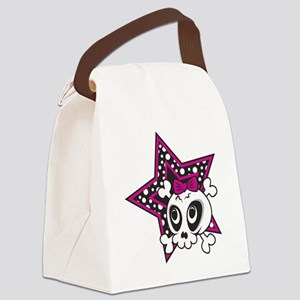 Girly Emo Skull Canvas Lunch Bag