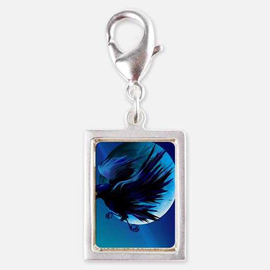 Raven and Moon LargePoster Silver Portrait Charm