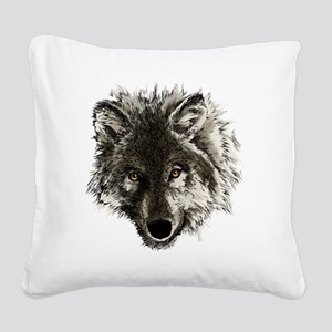 wolf port_dark Square Canvas Pillow