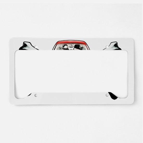 Smart Crossbones Red copy License Plate Holder