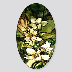 magnolia stained glass545 3g Sticker (Oval)