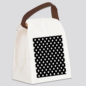 bw-polkadot Canvas Lunch Bag