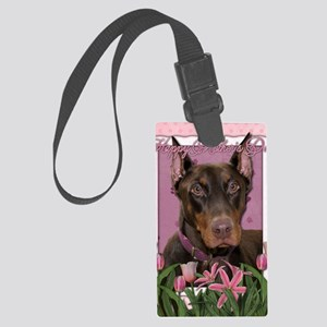 Mothers_Day_Pink_Tulips_Doberman Large Luggage Tag