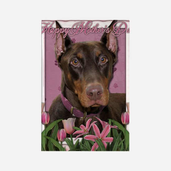 Mothers_Day_Pink_Tulips_Doberman_ Rectangle Magnet