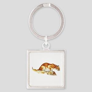 Mountain Lion Square Keychain