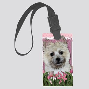 Mothers_Day_Pink_Tulips_Cairn_Te Large Luggage Tag
