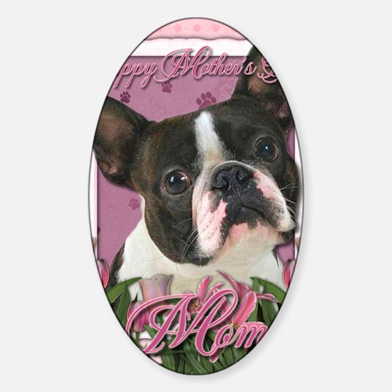 Mothers_Day_Pink_Tulips_Boston_Terr Sticker (Oval)