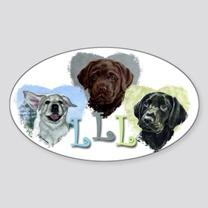 LLL puppies copy Sticker (Oval)