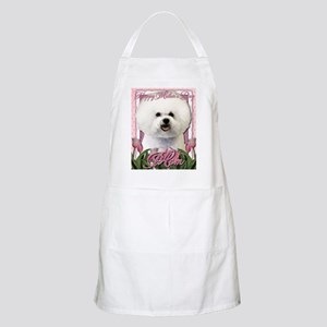 Mothers_Day_Pink_Tulips_Bichon_Frise_Mom Apron