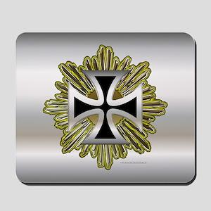 Silver Black Iron Cross Mousepad