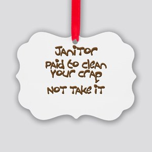 funny janitor Picture Ornament
