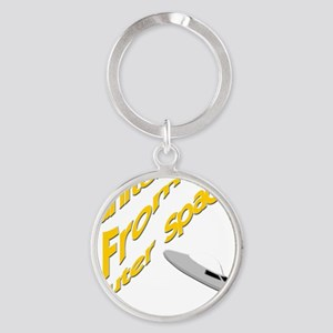 funny janitor from outer space Round Keychain