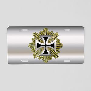 Silver Black Iron Cross Aluminum License Plate