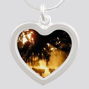 Field Horses signed. Oct. Wi Silver Heart Necklace