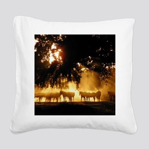 Field Horses signed. Oct. Win Square Canvas Pillow