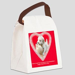 Golden Retriever Valentine Magnet Canvas Lunch Bag