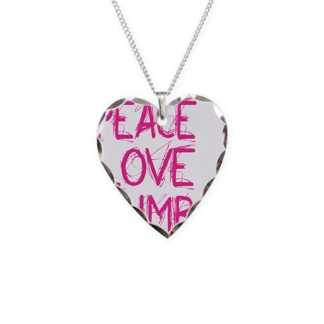peace love climb pink white Necklace Heart Charm