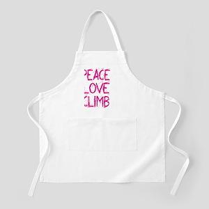 peace love climb pink white Apron
