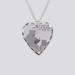 Bear Story Time - no text Necklace Heart Charm