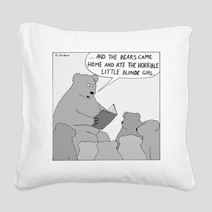 Bear Story Time - no text Square Canvas Pillow