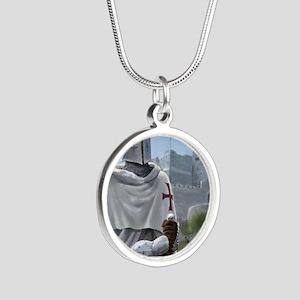 templar citadel 1 squ Silver Round Necklace