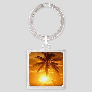 palm sunset Square Keychain
