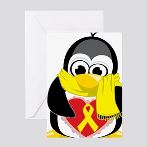 Yellow-Ribbon-Penguin-Scarf Greeting Card