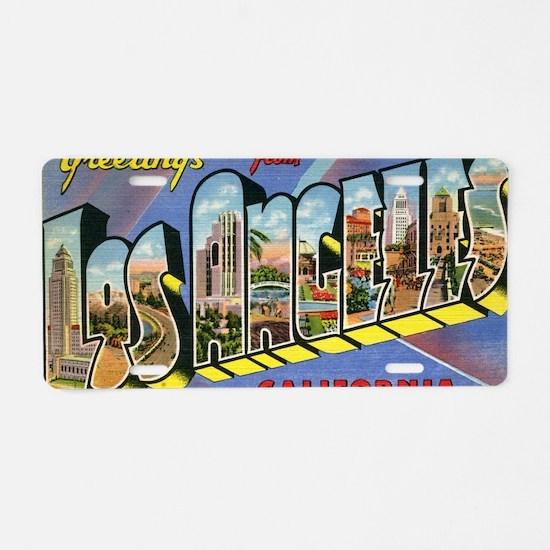 los angeles postcard Aluminum License Plate