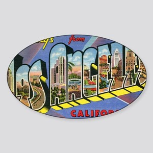los angeles postcard Sticker (Oval)