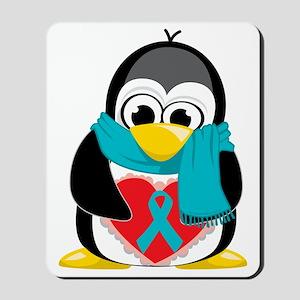 Teal-Ribbon-Penguin-Scarf Mousepad