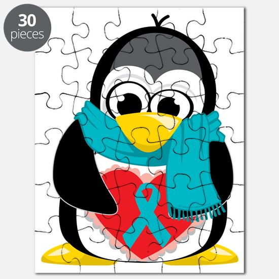 Teal-Ribbon-Penguin-Scarf Puzzle