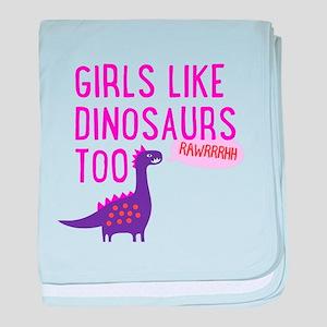 Girls Like Dinosaurs Too RAWRRHH baby blanket