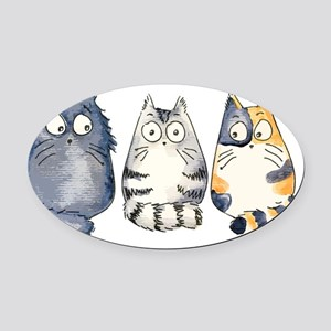 3Cats2 Kopie Oval Car Magnet