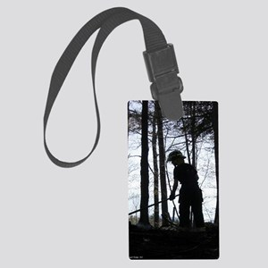 female firefighter Large Luggage Tag