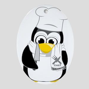 Chef-Penguin-Scarf Oval Ornament