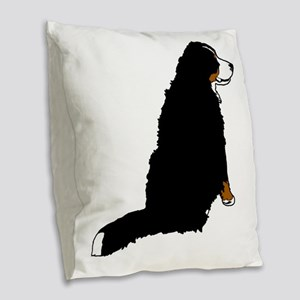 Sitting Bernese Mountain Dog ( Burlap Throw Pillow