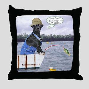 Black Lab Golfer Throw Pillow