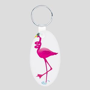 Cool Pink Flamingo Aluminum Oval Keychain